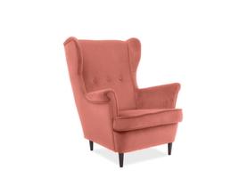 Fotel uszak Lord antyczny róż tkanina velvet signal