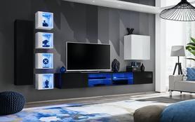 Meblościanka Switch 26 czarno - biały mat/połysk + LED