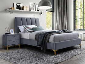 Łóżko sypialniane Mirage 90x200 szary velvet/złoty metal signal