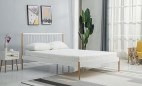 Łóżko sypialniane Lemi 120x200 biały/naturalny stal Halmar