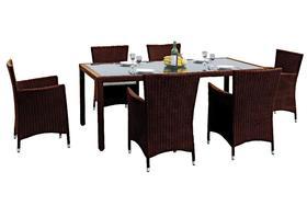 Meble ogrodowe Capitale stół + 6 krzeseł technorattan brąz