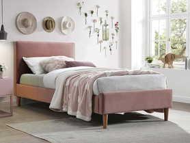 Łóżko Acoma 90x200 róż antyczny tkanina velvet/dąb drewno signal