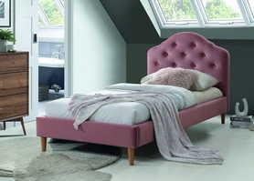 Łóżko sypialniane Chloe 90x200 antyczny róż tkanina velvet/dąb drewno signal