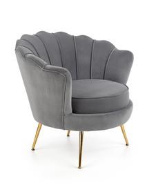 Fotel wypoczynkowy Amorinito tkanina popiel/złoty metal halmar