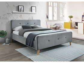 Łóżko sypialniane Malmo 160x200 szary velvet/dąb drewno signal