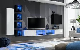 Meblościanka Switch 26 biało - czarny mat/połysk + LED