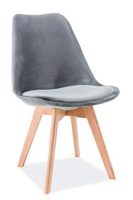 Krzesło Dior szary velvet/drewno dąb signal