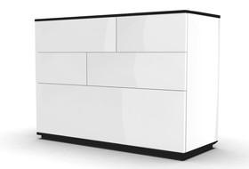 Komoda Ola 119 cm czarno-biały mat / biały połysk