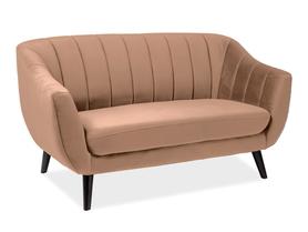 Sofa 2 os. Elite beżowa tkanina velvet signal