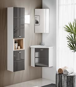 Meble łazienkowe z umywalką narożną Finka grey/biały/dąb sonoma