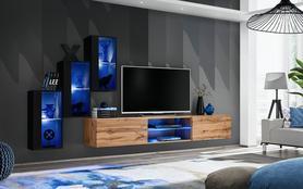 Meblościanka Switch 22 czarny - wotan mat/połysk + LED