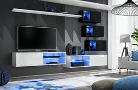Meblościanka Switch 24 biało - czarny mat/połysk + LED