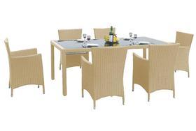 Meble ogrodowe Capitale stół + 6 krzeseł technorattan beż