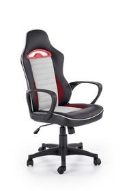 Fotel gabinetowy Bering czarny/popiel/czerwony eco skóra Halmar
