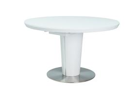 Rozkładany stół Orbit 120(160)x120 biały mdf/szkło/stal Signal