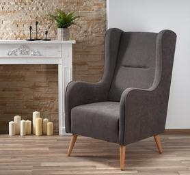 Fotel wypoczynkowy chester ciemny popiel lira-1213 tkanina/drewno halmar
