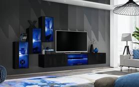 Meblościanka Switch 22 czarny połysk + LED
