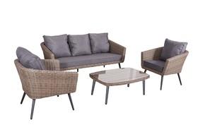 Meble ogrodowe Antico sofa + 2 fotele + ława technorattan brąz