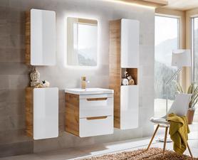 Meble łazienkowe z umywalką 60 cm Aruba dąb craft złoty/biały połysk + LED