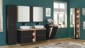 Meble łazienkowe Capri Black 140 cm + 2 umywalki + LED