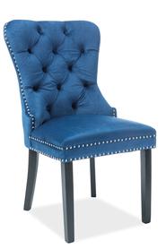 Krzesło August granatowa tkanina velvet/czarne drewno signal