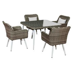 Meble ogrodowe Basso stół + 4 krzesła szary technorattan