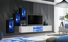 Meblościanka Switch 22 czarno - biały mat/połysk + LED