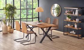 Rozkładany stół Xavier 160(250)x90 jasny dąb/czarny fornir+drewno/stal Halmar