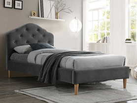 Łóżko sypialniane Chloe 90x200 szara tkanina velvet/dąb drewno signal