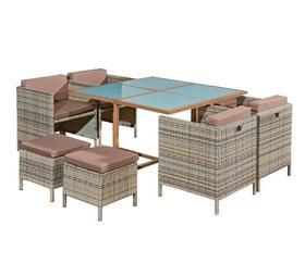 Meble ogrodowe Soffio stół + 4 krzesła + 4 pufy szary technorattan