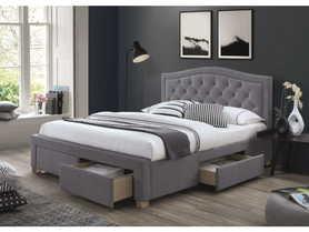 Łóżko sypialniane z szufladami Electra szara tkanina velvet 160x200 signal