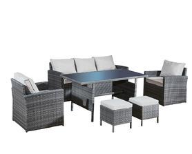 Meble ogrodowe Calmo Grande sofa + 2 fotele + pufy + stół technorattan szary melanż