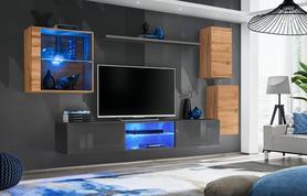 Meblościanka Switch 23 wotan - grafit mat/połysk + LED