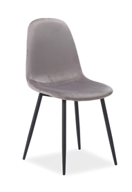 Krzesło fox velvet szary/czerń metal signal