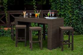 Meble ogrodowe barowe Geniale stół + 6 krzeseł technorattan brąz