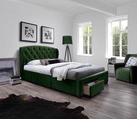 Łóżko sypialniane Sabrina 160x200 ciemny zielony tkanina/drewno szuflady Halmar