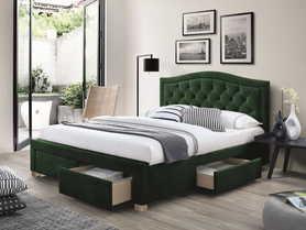 Łóżko sypialniane z szufladami Electra zielona tkanina velvet 160x200 signal