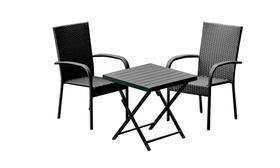 Meble ogrodowe PICCOLO stolik + 2 krzesła czarny technorattan
