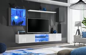 Meblościanka Switch 23 grafit - biały mat/połysk + LED