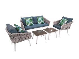Meble ogrodowe Corda sofa + 2 fotele+ 2 ławy szara plecionka