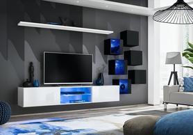 Meblościanka Switch 21 biało - czarny mat/połysk + LED