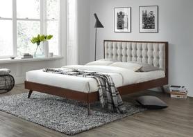 Łóżko sypialniene solomo 160x200 tkanina beż /drewno orzech halmar