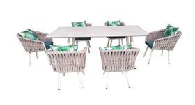 Meble ogrodowe Corda stół + 6 krzeseł szara plecionka