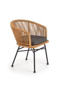 Krzesło k-400 czarny/naturalny/popiel rattan/stal/tkanina Halmar