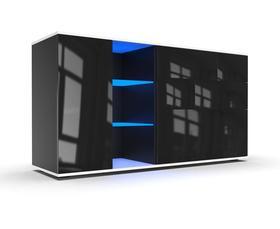Komoda Mona 1D biało-czarny połysk + LED