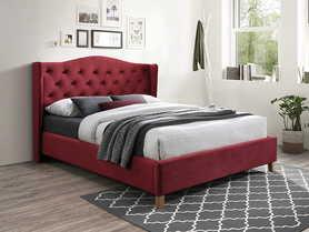 Łóżko sypialniane Aspen bordo velvet 160x200 signal
