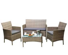 Meble ogrodowe DRITTO sofa + 2 fotele + ława szary melanż technorattan