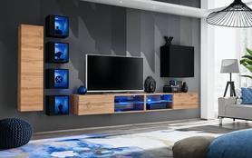 Meblościanka Switch 26 wotan - czarny mat/połysk + LED