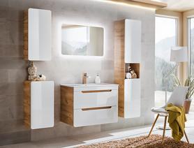 Meble łazienkowe z umywalką 80 cm Aruba dąb craft złoty/biały połysk + LED