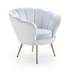 Fotel wypoczynkowy Amorino jasno niebieska tkanina/złoty metal halmar